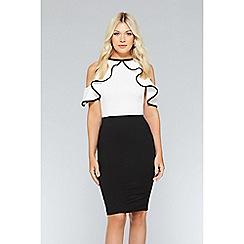 Quiz - White and black cold shoulder frill Knee length dress