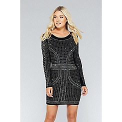 Quiz - Black and silver knit long sleeve embellished dress