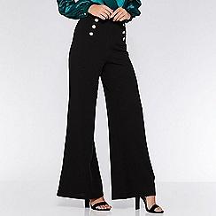 Quiz - Black gold button palazzo trousers