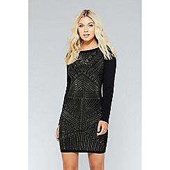 Quiz - Black light knit long sleeve embellished dress