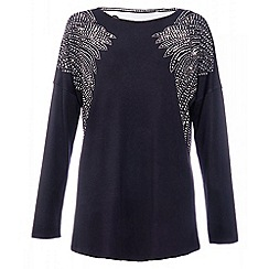 Quiz - Black and silver stud lace back long sleeve top