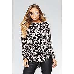 Quiz - Dusky pink leopard print light knit top