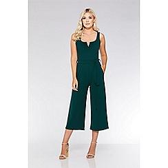 Quiz - Bottle green v-bar culotte jumpsuit