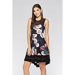 Quiz - Black and berry floral dip hem dress