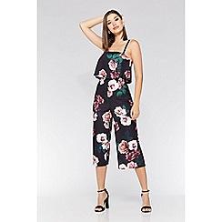 Quiz - Black and berry floral print culotte jumpsuit