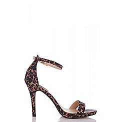 Quiz - Leopard print satin heel sandals
