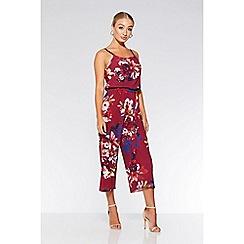 Quiz - Berry floral print culotte jumpsuit