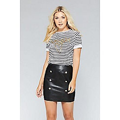Quiz - Black gold button detail skirt