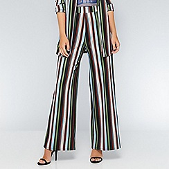 Quiz - Black green and blue stripe palazzo trousers