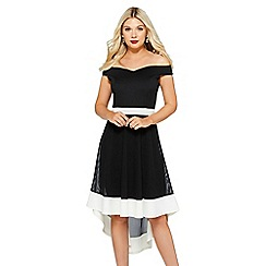 Quiz - Black and cream bardot dip hem dress