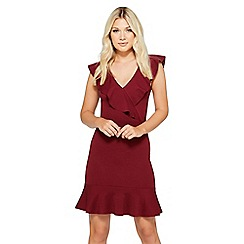 Quiz - Berry frill v neck dress
