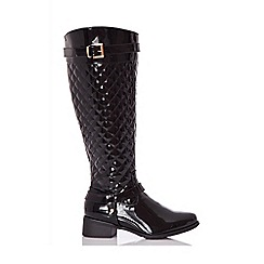 Quiz - Black patent quilted knee high boots
