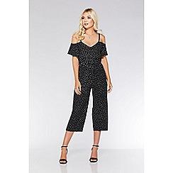 Quiz - Black and white polka dot cold shoulder jumpsuit