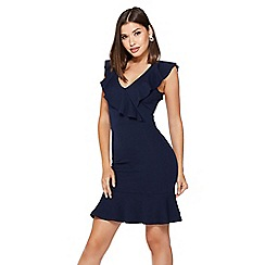 Quiz - Navy frill v neck dress