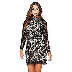 Quiz - Black and stone lace mini dress