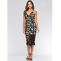 Quiz - Olivia's black and stone crochet strappy midi dress
