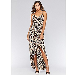 Quiz - Leopard print wrap maxi dress