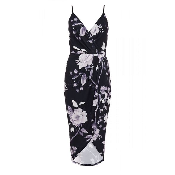 dress white floral Black wrap and Quiz nEqx0aXE