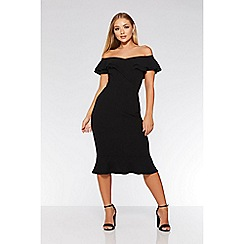 Quiz - Black bardot double frill flare dress