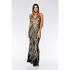 Quiz - Black and Gold V-neck fishtail maxi dress
