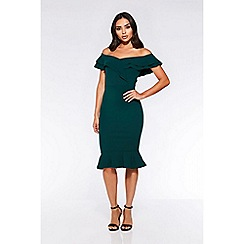 Quiz - Bottle green bardot frill dip hem dress