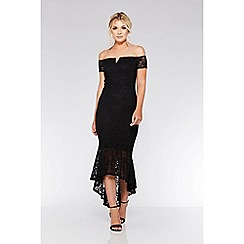 Quiz - Black lace dip hem maxi dress