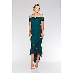 Quiz - Bottle green lace dip hem maxi dress