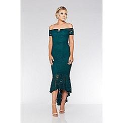 Quiz - Bottle green lace dip hem maxi dress