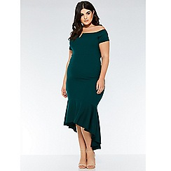 Quiz - Curve Bottle Green Bardot V Bar Dip Hem Dress