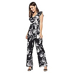 Quiz - Black white and grey floral palazzo jumpsuit