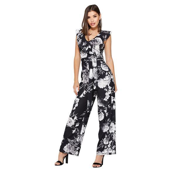 floral grey Quiz white palazzo Black and jumpsuit wqtSIt
