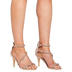 Quiz - Rose gold diamante twist heel sandals