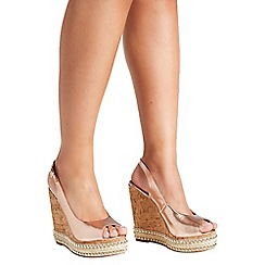 Quiz - Rose Gold Slingback Wedge Heels