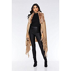 Quiz - Taupe faux fur trim knit poncho