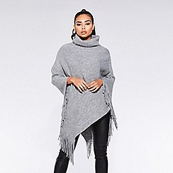 Quiz - Towie grey cowl neck knit poncho