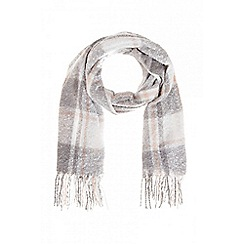 Quiz - Pink and grey check print knit scarf