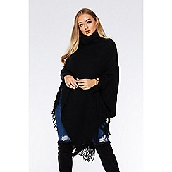 Quiz - Black cowl neck knit poncho