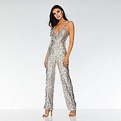Quiz - Towie nude and silver sequin jumpsuit