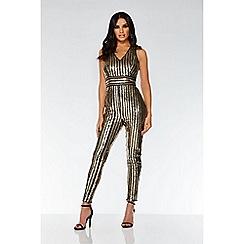 Quiz - TOWIE black and gold sequin stripe jumpsuit