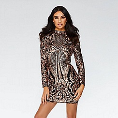 Quiz - Black and rose gold sequin bodycon dress