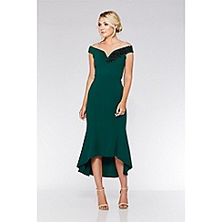 Quiz - Bottle green bardot dip hem dress