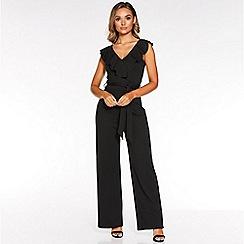 Quiz - Black frill tie belt palazzo jumpsuit