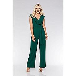 Quiz - Bottle green frill tie belt palazzo jumpsuit