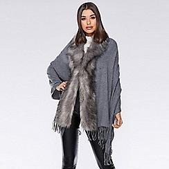 7cd0bb961a8d3 Quiz - Grey pearl faux fur trim cape