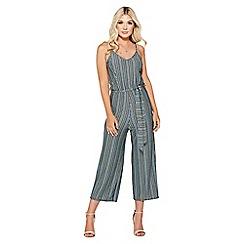 Quiz - Blue and green stripe culotte jumpsuit