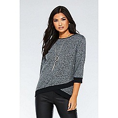 Quiz - Grey and black light knit necklace top