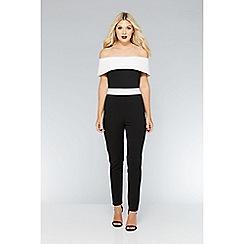 Quiz - Black and white contrast bardot jumpsuit