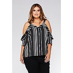 Quiz - Black and cream polkadot stripe cold shoulder top