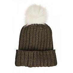 Quiz - Khaki knit pom hat