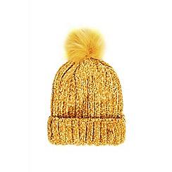 Quiz - Mustard chenille knit pom hat